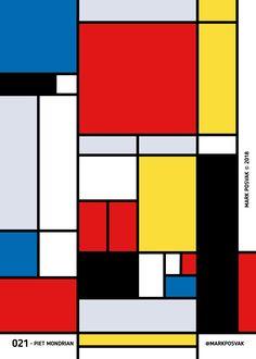 021 • Piet Mondrian | A Poster a Day Mark Posvak © 2018