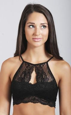 so sweet and feminine! this halter bralette features a high-neckline with a center cutout. the back of the bralette also features a large trinagle cutout. - model is wearing a size small - nylon - spa
