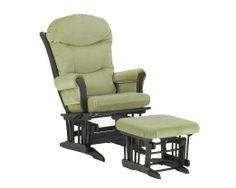 Dutailier Round Back Cushion Design Sleigh Glider Multiposition, Recline and Ottoman Combo, Sage Green