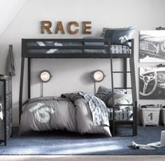 Industrial Loft Twin-Over-Full Bunk Bed | RH baby & child