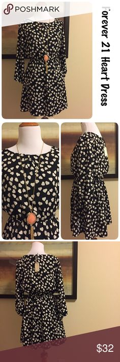NWT Chic Forever 21 Heart Dress size small ♦️new with tag ♦️Made of 100% polyester ♦️Measurements: ♦️Underarm to underarm flat across is approximately 17.5 inches ♦️Back of neck to bottom of hem is approximately 30 inches Dresses