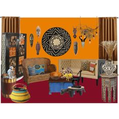 A home decor collage from February 2016 featuring rustic furniture, rattan furniture and walnut end table. Rattan Furniture, Rustic Furniture, Interior Decorating, Interior Design, Africa, My Arts, Butler, Polyvore, Room