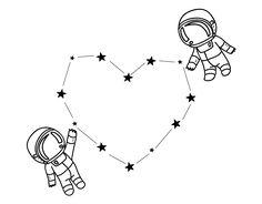 Dibujo de un Amor espacial para pintar, colorear o imprimir. Colorea online con dibujos.net y podrás compartir y crear tu propia galería de dibujos pintados de San Valentín.