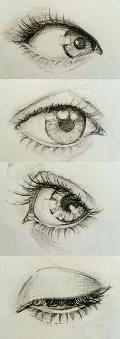 Reference for eye positions Eye Pencil Drawing, Eye Drawings, Human Eye Drawing, Closed Eye Drawing, Drawing Face Shapes, Girl Eyes Drawing, Drawing Techniques Pencil, Human Face Sketch, Nose Drawing