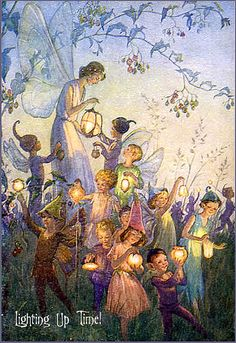 """Fairy Lights"" by Margaret Tarrant Margaret was born in Battersea, a suburb of south London. She studied at the Clapman School of Art and later at the Guildford School of Art. She was an established illustrator and a close friend of Cicely Mar Fairy Dust, Fairy Land, Fairy Tales, Fantasy Kunst, Fantasy Art, Vintage Fairies, Love Fairy, Fairytale Art, Flower Fairies"