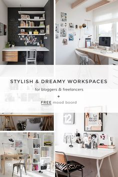 I truly believe that our workspace contributes to our productivity, so I'm always looking for inspiration for my future studio / office. I share on the blog 5 dreamy & stylish workspaces for bloggers and freelancers +  a FREE moodboard template for Photoshop to be able to create your own sources of inspiration. Click here to download it know (plus other free goodies for you and your blog).