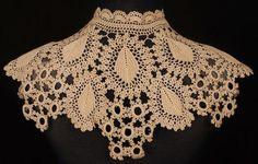 Antique Crochet Lace Collar Victorian Neck Piece Hand Made