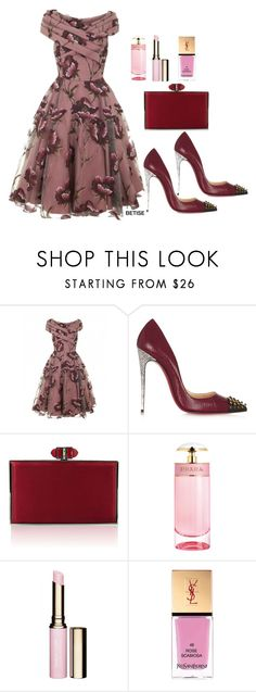 """""""FLORAL SWING DRESS !"""" by betty-sanga ❤ liked on Polyvore featuring Christian Louboutin, Judith Leiber, Prada, Clarins and Yves Saint Laurent"""