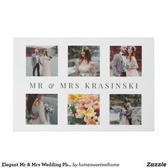 Elegant Mr & Mrs Wedding Photo Collage Faux Canvas Print Photo Collage Canvas, Photo Collage Gift, Canvas Art Prints, Wedding Gifts For Couples, Personalized Wedding Gifts, Wedding Canvas, Wedding Posters, Mr And Mrs Wedding, Newlywed Gifts