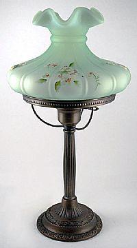Fenton Art Glass - 20-1/2'' Melon Student Lamp in Willow Green Satin