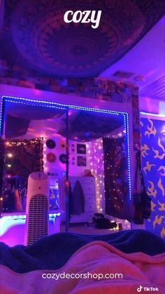 upgrade your bedroom :) Room Design Bedroom, Room Ideas Bedroom, Diy Bedroom Decor, Light Bedroom, Bedroom Inspo, Teen Room Designs, Hangout Room, Chill Room, Neon Room