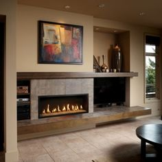 9 Startling Cool Tips: Contemporary Design Typography modern contemporary foyer.Contemporary Bedroom Home clean contemporary decor. Tv Above Fireplace, Linear Fireplace, Home Fireplace, Fireplace Inserts, Modern Fireplace, Fireplace Surrounds, Fireplace Design, Fireplace Mantels, Gas Fireplaces