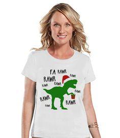 Christmas Dinosaur - Funny Christmas T-Shirt - Ladies Holiday Tee - Winter Tee - White T Shirt - Holiday T Rex Shirt - Holiday Gift Idea