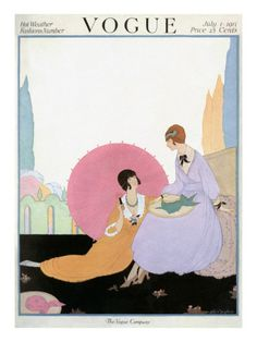 Vogue Cover - July 1917    The July 1, 1917, Vogue cover featured a Helen Dryden fashion illustration of two young women lounging in a garden, their long, full skirts flowing around them. One holds a pink parasol to block the sun, since her hat has blown a few feet away on the lawn.