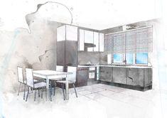 #kitchen sketch #sketch  #interior design #watercolor