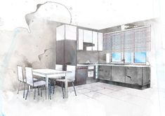 #kitchen sketch #sketch  #interior design #watercolor