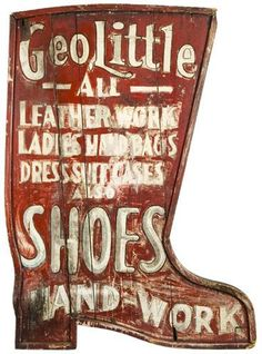 Walter Manning from Old Chum found this beautiful old advertising for leather work on ladies hand bags, dress suit cases and also shoes. The trade sign Geo Little, at Vanes & Folk Art Gallery. shoes and handbags to match Vintage Labels, Vintage Ads, Vintage Signs, Vintage Sewing, Advertising Signs, Vintage Advertisements, Primitive Signs, Primitive Autumn, Sign Writing