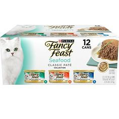 Fancy Feast Gourmet Cat Food contains three flavor variety. It comes in enchanting shapes with a rich delicious melding of filet mignon and seafood flavors. Savory Salmon Cod Sole and Shrimp and Oc...