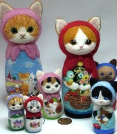 Needle Felted Kitty Russian Stacking Dolls