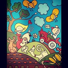 #acrylic on #canvas (73x93cm)   #artwork #art #cartoon #farmlife #Instagram