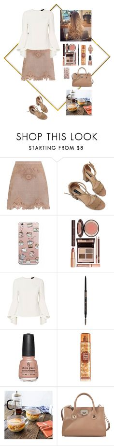 """""""Latte Lady"""" by argenta2410 ❤ liked on Polyvore featuring Zimmermann, Charlotte Tilbury, Exclusive for Intermix, China Glaze, Cathy's Concepts, Jimmy Choo and Olivia Burton"""