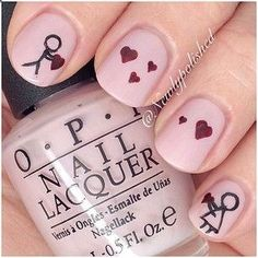 Aww! It apparently is possible for a manicure to say, I cant live without you. | 26 Ridiculously Sweet Valentines Day Nail Art Designs