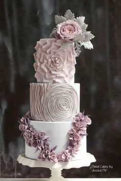 Jessica MV is world-famous for her unique wedding cake designs. She has spreaded the ideas of haute couture wedding cakes with textures and delicate hand-made details all over the globe through her hands-on classes and online tutorials. Wedding Cake Fresh Flowers, Elegant Wedding Cakes, Cool Wedding Cakes, Elegant Cakes, Beautiful Wedding Cakes, Wedding Cake Designs, Wedding Cake Toppers, Beautiful Cakes, Floral Wedding