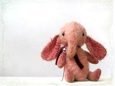 Artist Teddy Elefant Sonya pink coral by zverrriki on Etsy
