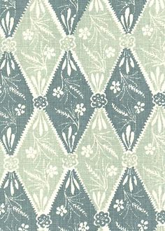 Kathryn Ireland - Collection:Batik Pattern: Diamond Style No: 2903 Color: Blue Content: 100% linen Width: 54 in Repeat: 28 in