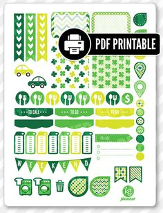 """One 8.5"""" x 11"""" PDF PRINTABLE St. Patty's (style 2) weekly spread kit stickers for use in your Erin Condren life planner, Filofax, Plum Paper, etc!  ‣ PRINTABLE/DOWNLOADABLE FILE ONLY. Nothing will be shipped. ‣ FOR PERSONAL USE ONLY. COMMERCIAL USE OF ANY KIND IS PROHIBITED.  •••••••• F O L L O W •••••••• f: www.facebook.com/kgplanner i: www.instagram.com/kgplanner t: www.twitter.com/kimgrish  •••••••• A R T W O R K •••••••• Artwork under free commercial use with attribution: © Freepik.com…"""