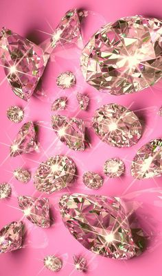 Diamonds on Pink Wallpaper.By Artist Unknown. Bling Wallpaper, Pink Wallpaper Iphone, Cellphone Wallpaper, Wallpaper Backgrounds, Whatsapp Pink, Tout Rose, Everything Pink, Pink Walls, Pretty Wallpapers