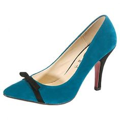 Teal Pump with Bow.