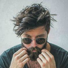 Messy Long Hair with Beard