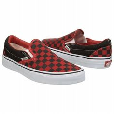 497a36f203e Athletics Vans Unisex Classic Checkerboard Slip-On Sneaker Black Red  Checker Shoes.com