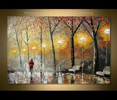 A perfect autumn day is depicted in this work of art, Red Jacket Oil Painting on canvas Palette Knife by Nizamas Star Painting, City Painting, Oil Painting On Canvas, Canvas Wall Art, Knife Painting, Ship Paintings, Your Paintings, Auras, Pick Up