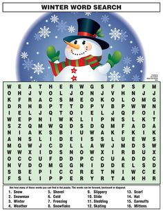 Winter Word Search - Best Coloring Pages For Kids Winter Word Search, Christmas Word Search, Christmas Puzzle, Christmas Words, Christmas Crossword, Christmas Party Games, Christmas Crafts For Kids, Christmas Fun, Holiday Fun