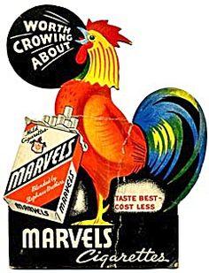 Old cigarette rooster poster.
