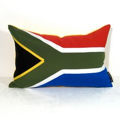 Items similar to South African Flag Pillow Cover - South Africa - Decorative - Red Blue Green Yellow - Olympics Sochi - Sunbrella Cushion inch on Etsy I Am An African, South African Flag, Africa Flag, Red Blue Green, Yellow, Beautiful Places To Travel, Outdoor Cushions, Pillow Covers, Throw Pillows