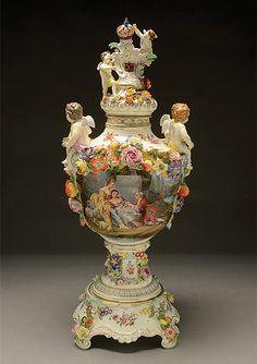 Massive Dresden Porcelain Floral Encrusted Urn on Stand