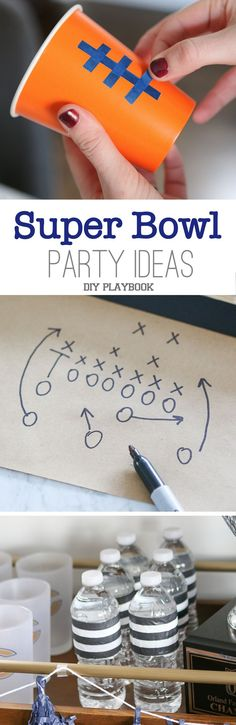 With Super Bowl coming up, we are excited to share 5 super simple Super Bowl party ideas to you can tackle before the big game. These crafts are easy to implement and will take your watch party to the next level! #superbowl #superbowlparty