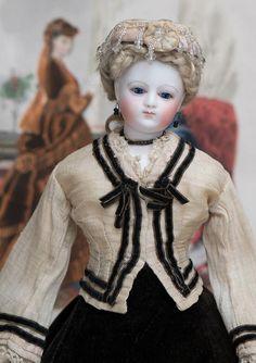 "14"" (35 cm) Rare Antique French Fashion Parisienne Poupee Doll from maison Simonne, in original costume, c.1865."