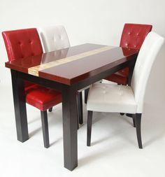 5 Piece Burgundy Marble Dining Set , Table with 2 Red & 2 White Stitches Chairs