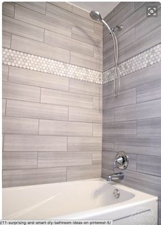 hex tile feature in shower surround