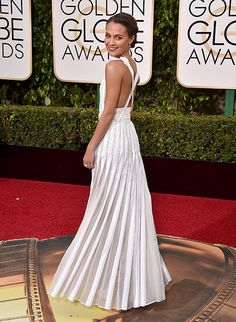 """Alicia Vikander stunning in white at the 2016 Golden Globes. Nominated for Best Actress in a Drama for """"The Danish Girl""""."""