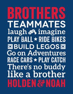 Brothers Wall Art Boy Room Decor Brother Quotes by papermintsshop