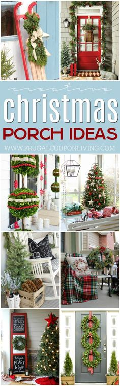 Christmas Decor - Christmas Porch Ideas to help you get your home holiday ready and your curb appeal top notch on Frugal Coupon Living #christmas #christmasporch #homedecor #porch #christmashomedecor