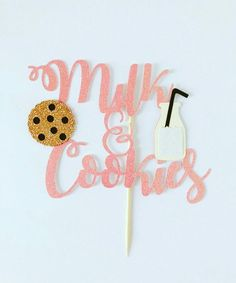 Milk & Cookies Cake Topper / Milk and Cookies Birthday / Pajama Party First Birthday Party Themes, 1st Boy Birthday, Birthday Ideas, Milk Cookies, Cake Cookies, 6 Cake, Grandparents Day Gifts, Personalized Cake Toppers, Birthday Cookies