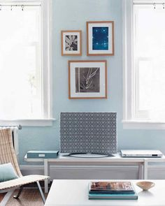 """Page Marchese Norman created this clever (and, well, cozy) cover for Sarah's new LCD TV. """"It also added a little more color to the room,"""" says Page."""