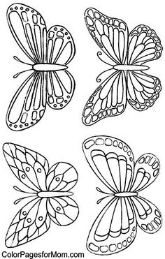Color Pages for Mom: Butterfly Coloring Page 34 -- Butterfly line drawing #insect