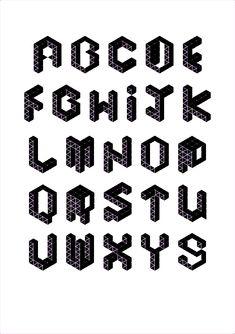Geometric Alphabet on Behance - behance.net Alphabet Fonts, 3d Letters, Creative Lettering, Script Logo, Handwriting, Macrame, Typography, Language, Behance